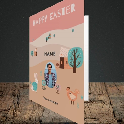 Picture of Easter Farm, Easter Design, Portrait Greetings Card