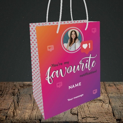 Picture of Favourite Notification, Valentine's Design, Small Portrait Gift Bag