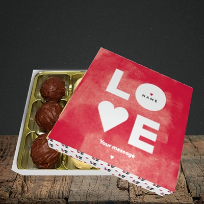 Picture of Love Type (stacked) (Without Photo), Valentine Design, Choc 9
