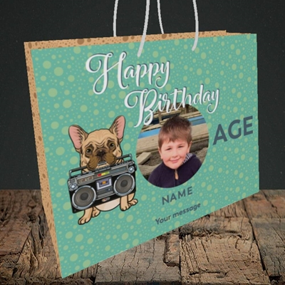 Picture of Boom Box Frenchie, Birthday Design, Medium Landscape Gift Bag