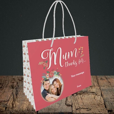 Picture of Mum Thanks For..., Mother's Day Design, Small Landscape Gift Bag