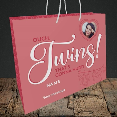Picture of Ouch Twins!, Pregnancy Design, Medium Landscape Gift Bag