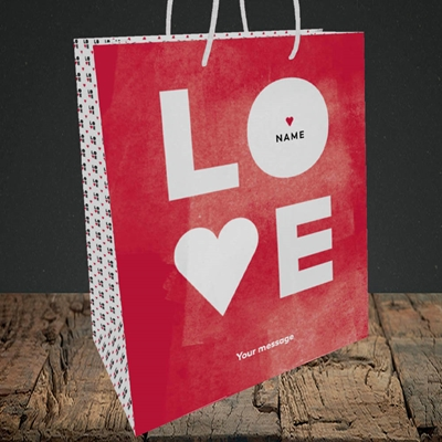 Picture of Love Type (stacked) (Without Photo), Valentine's Design, Medium Portrait Gift Bag