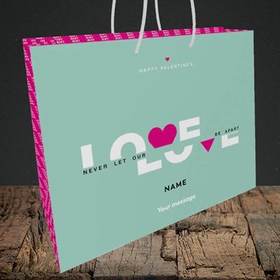 Picture of Never Let Our Love Be Apart (Without Photo), Valentine's Design, Medium Landscape Gift Bag
