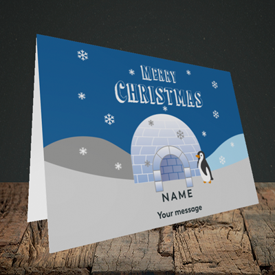 Picture of Igloo Penguin(Without Photo), Christmas Design, Landscape Greetings Card
