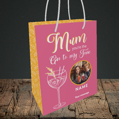 Picture of Gin To My Tonic, Mother's Day Design, Small Portrait Gift Bag