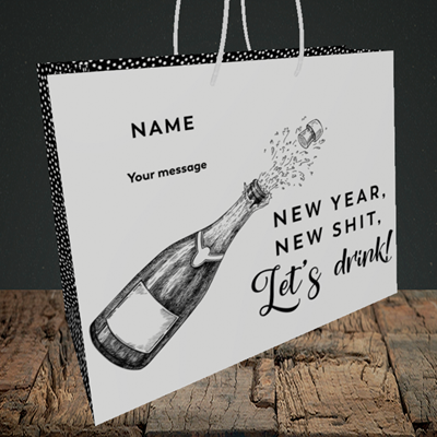 Picture of Let's Drink(Without Photo), New Year Design, Medium Landscape Gift Bag