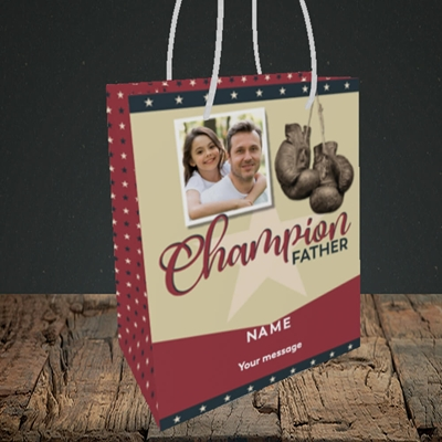 Picture of Champion Father, Father's Day Design, Small Portrait Gift Bag