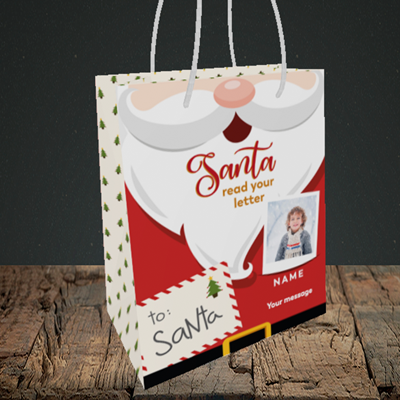 Picture of Santa's Letters, Christmas Design, Small Portrait Gift Bag