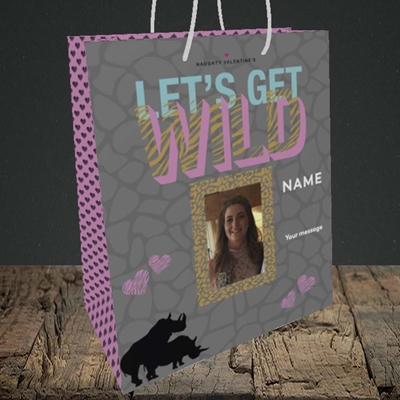 Picture of Let's Get Wild, Valentine's Design, Medium Portrait Gift Bag