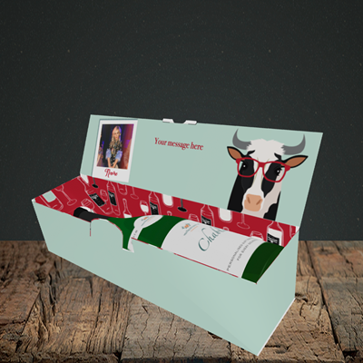 Picture of Cow, Birthday Design, Lay-down Bottle Box