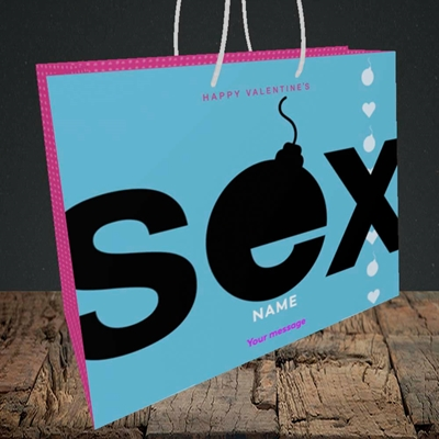 Picture of Sex Bomb - Blue(Without Photo), Valentine's Design, Medium Landscape Gift Bag