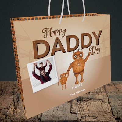 Picture of Daddy Robot, Father's Day Design, Medium Landscape Gift Bag