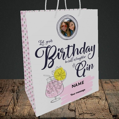 Picture of Birthday Full Of Gin, Birthday Design, Medium Portrait Gift Bag