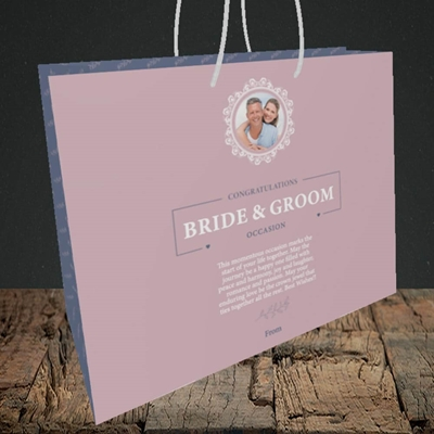 Picture of Traditional Foliage Pink B&G, Wedding Design, Medium Landscape Gift Bag