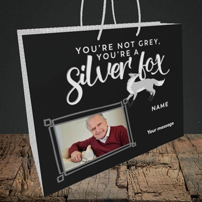 Picture of Silver Fox, Birthday Design, Medium Landscape Gift Bag