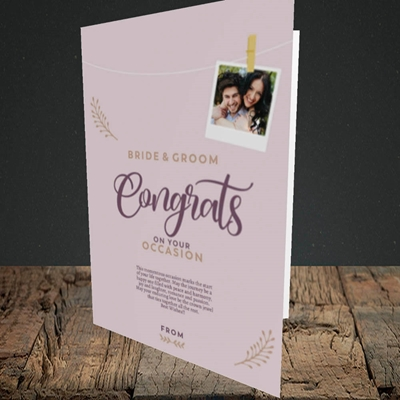 Picture of Peg & Polaroid Mauve B&G Wedding Design, Portrait Greetings Card