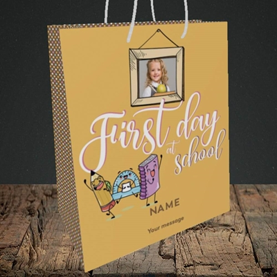 Picture of First Day At School, Good Luck Design, Medium Portrait Gift Bag