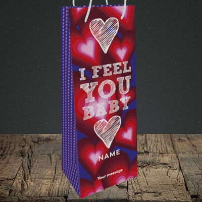 Picture of I Feel You Baby(Without Photo), Valentine's Design, Bottle Bag