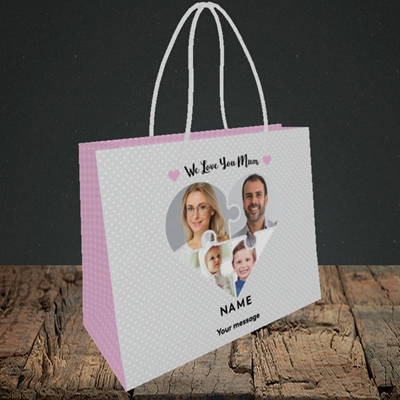Picture of Love You Mum-Puzzle, Mother's Day Design, Small Landscape Gift Bag