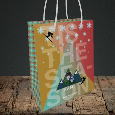 Picture of Tis The Skier, Christmas Design, Small Portrait Gift Bag