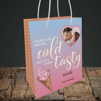 Picture of Cold But Tasty, Valentine's Design, Small Portrait Gift Bag