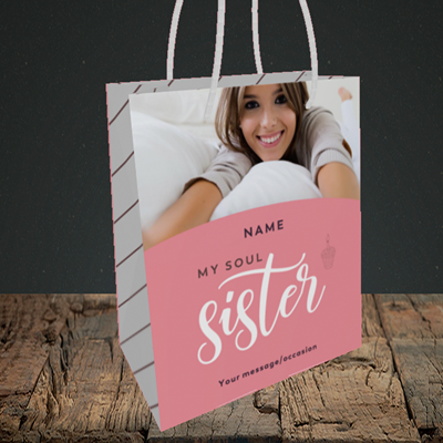 Picture of Soul Sister, Birthday Design, Small Portrait Gift Bag