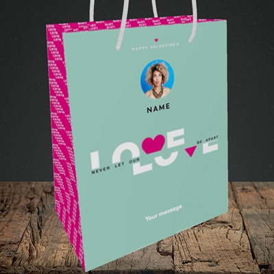 Picture of Never Let Our Love Be Apart, Valentine's Design, Medium Portrait Gift Bag