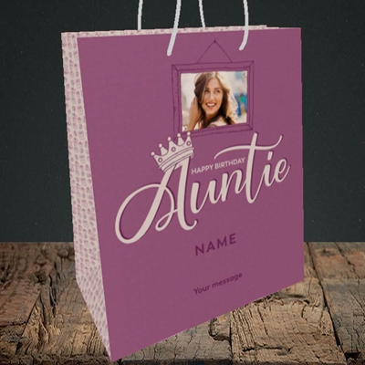 Picture of Auntie (Crown), Birthday Design, Medium Portrait Gift Bag