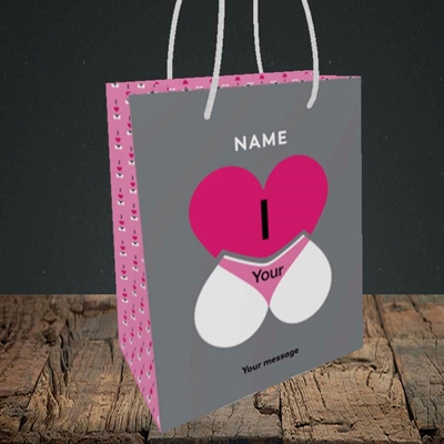 Picture of I Love Your Bum(Without Photo), Valentine's Design, Small Portrait Gift Bag