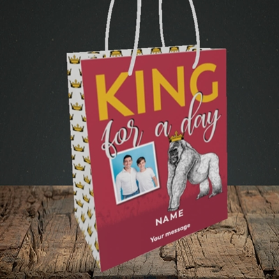 Picture of King For A Day, Father's Day Design, Small Portrait Gift Bag
