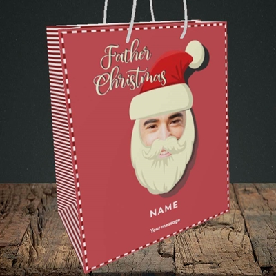 Picture of Father Christmas Mask, Christmas Design, Medium Portrait Gift Bag