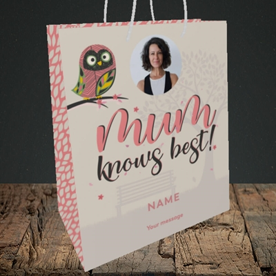 Picture of Mum Knows Best, Mother's Day Design, Medium Portrait Gift Bag