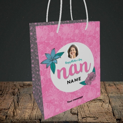 Picture of Happy Mother's Day Nan, Mother's Day Design, Small Portrait Gift Bag