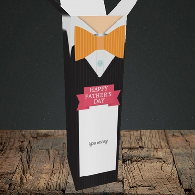 Picture of Bowtie(Without Photo), Father's Day Design, Upright Bottle Box