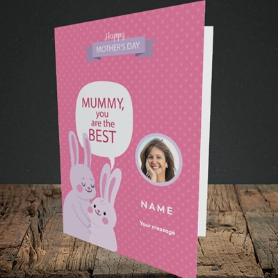 Picture of Mummy You Are The Best Bunny, Mother's Day Design, Portrait Greetings Card