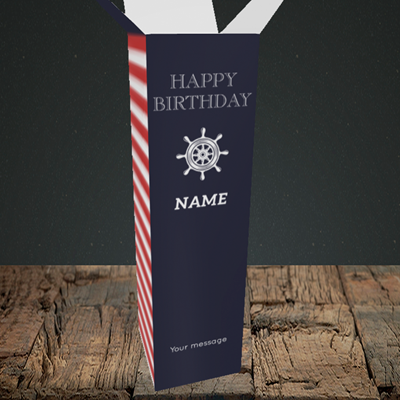 Picture of Nautical, (Without Photo) Birthday Design, Upright Bottle Box