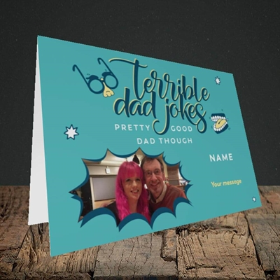 Picture of Terrible Dad Jokes, Father's Day Design, Landscape Greetings Card