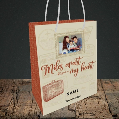 Picture of Miles Apart, Thinking of You Design, Small Portrait Gift Bag