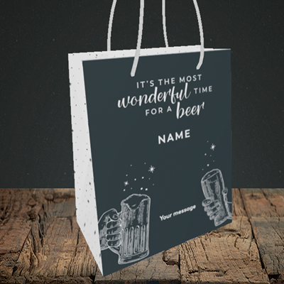 Picture of Time for a Beer, (Without Photo) Christmas Design, Small Portrait Gift Bag