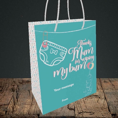 Picture of Wiping My Bum(Without Photo), Mother's Day Design, Small Portrait Gift Bag