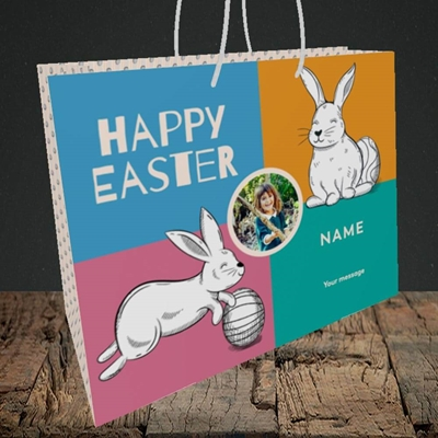 Picture of 4 Colour Bunnies, Easter Design, Medium Landscape Gift Bag