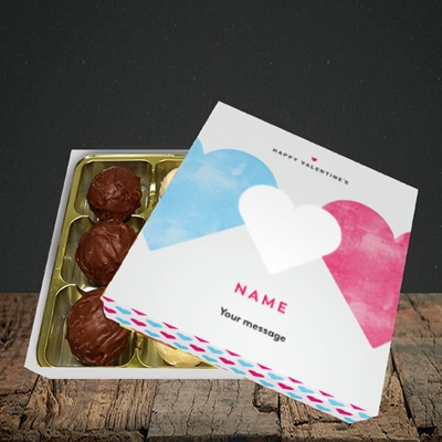 Picture of Joined Hearts (textured)(Without Photo), Valentine Design, Choc 9