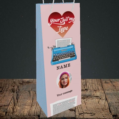 Picture of Just My Type, Valentine's Design, Bottle Bag