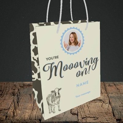 Picture of Moooving On, Leaving Design, Small Portrait Gift Bag
