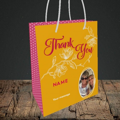 Picture of Flowers, Thank You Design, Small Portrait Gift Bag