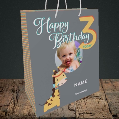 Picture of Giraffe's 3rd, Birthday Design, Medium Portrait Gift Bag