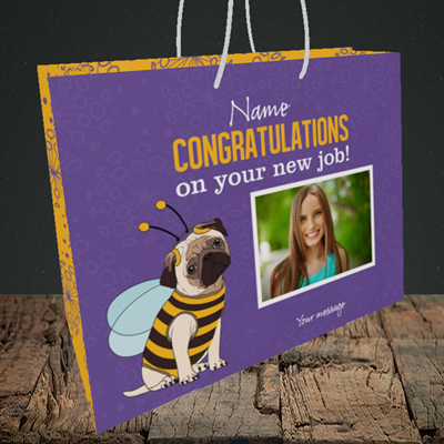Picture of Bee, New Job Design, Medium Landscape Gift Bag