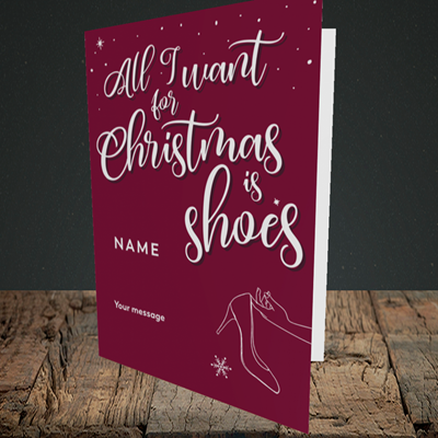Picture of Christmas Shoes(Without Photo), Christmas Design, Portrait Greetings Card