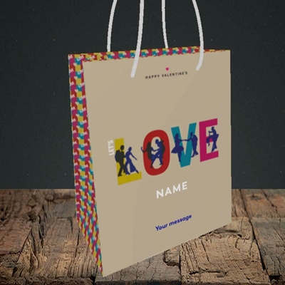 Picture of Let's Love Let's Dance(Without Photo), Valentine's Design, Small Portrait Gift Bag